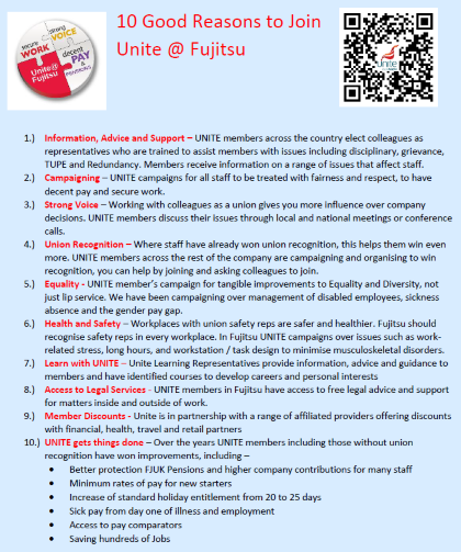 Ten Good Reasons to join Unite @ Fujitsu leaflet